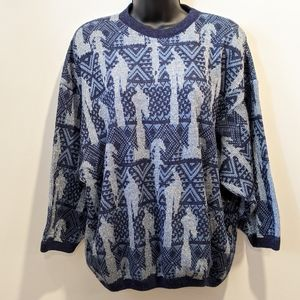 Vintage blue knit oversized sweater small